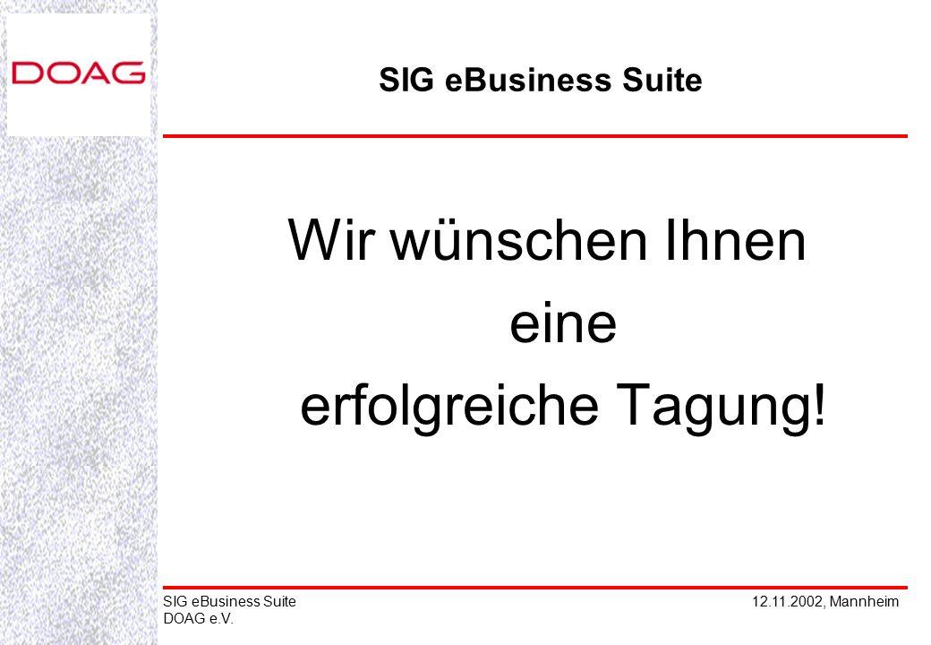 12.11.2002, MannheimSIG eBusiness Suite DOAG e.V. Wir wünschen Ihnen eine erfolgreiche Tagung! SIG eBusiness Suite
