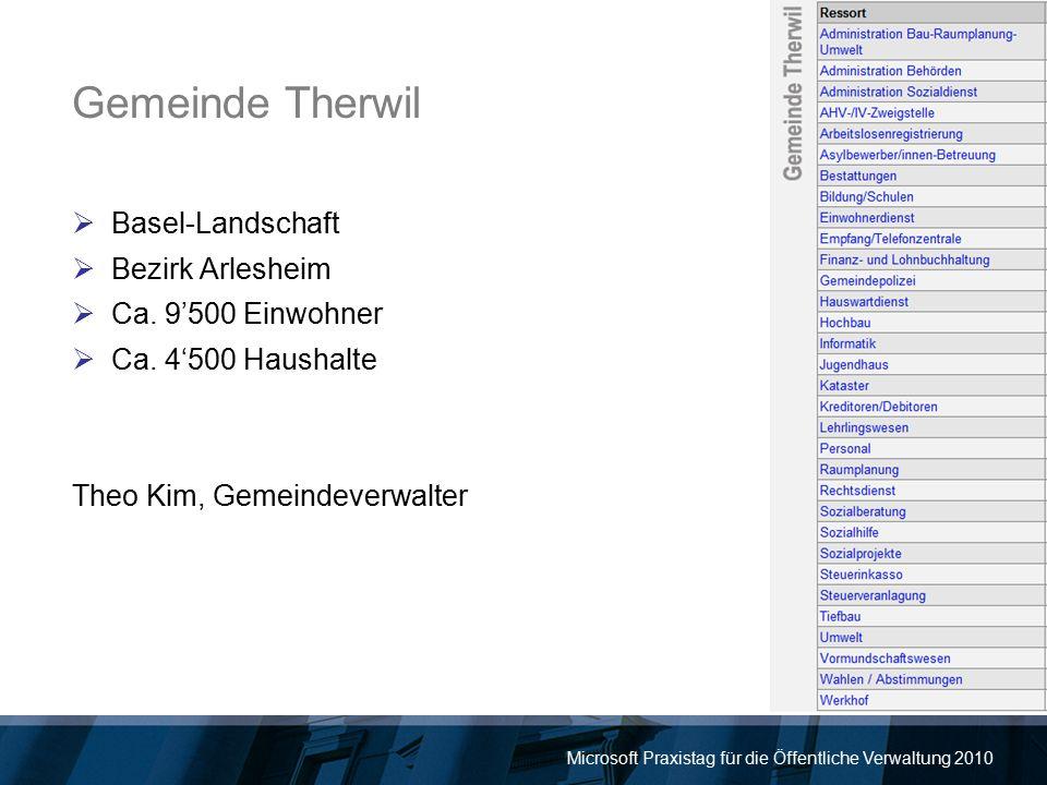 Microsoft Praxistag für die Öffentliche Verwaltung 2010 Gemeinde Therwil  Basel-Landschaft  Bezirk Arlesheim  Ca. 9'500 Einwohner  Ca. 4'500 Haush