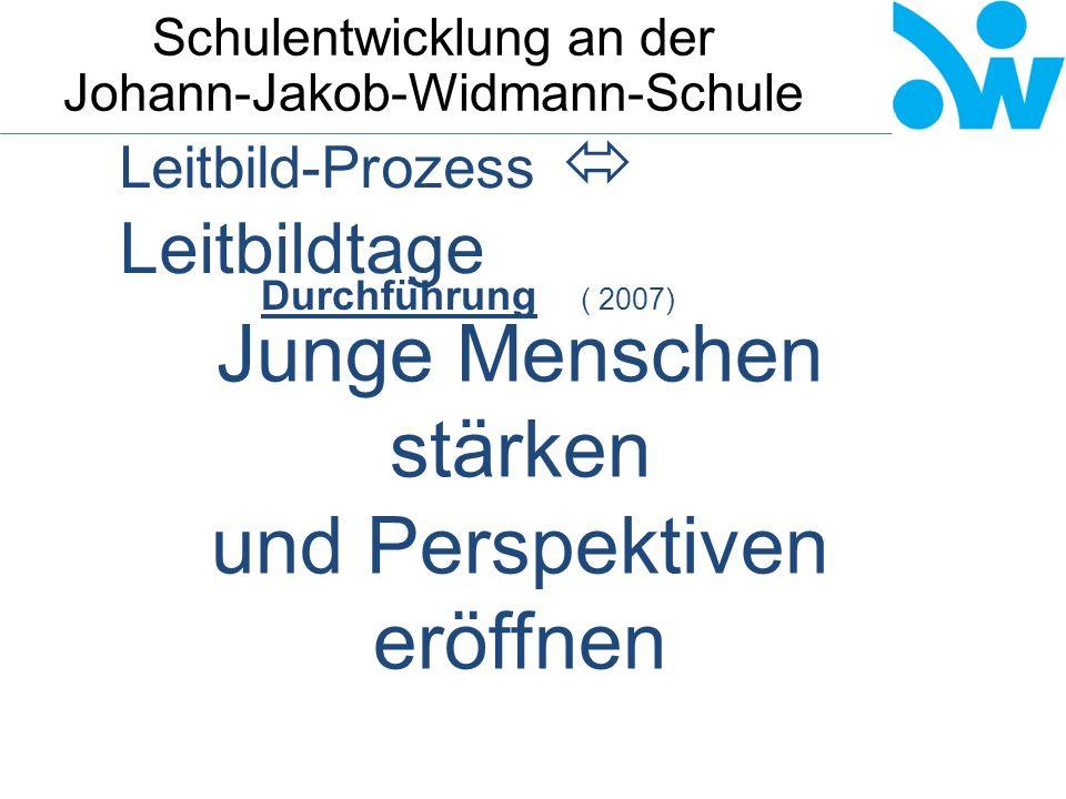 Schulentwicklung an der Johann-Jakob-Widmann-Schule Leitbild-Prozess  Leitbildtage Durchführung ( 2007) Junge Menschen stärken und Perspektiven eröffnen