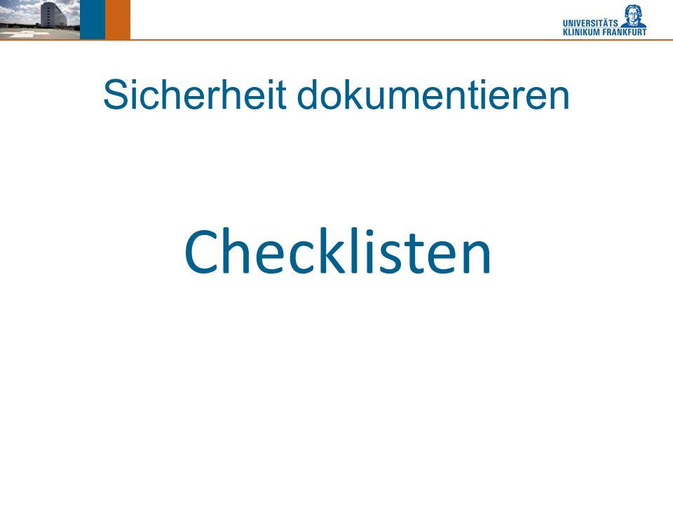 Sicherheit dokumentieren Checklisten