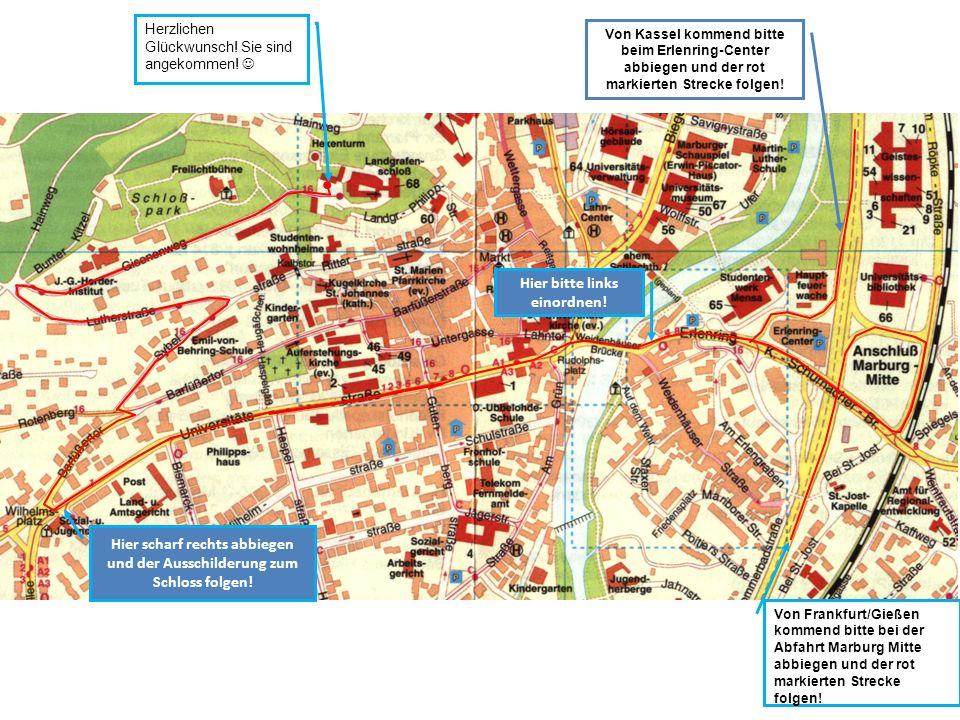 Von Kassel kommend bitte beim Erlenring-Center abbiegen und der rot markierten Strecke folgen.