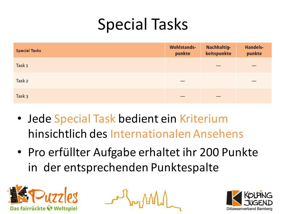 Special Tasks Jede Special Task bedient ein Kriterium hinsichtlich des Internationalen Ansehens Pro erfüllter Aufgabe erhaltet ihr 200 Punkte in der entsprechenden Punktespalte