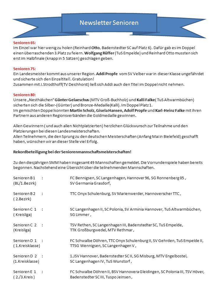 Newsletter Senioren Senioren 65: Im Einzel war hier wenig zu holen (Reinhard Otto, Badenstedter SC auf Platz 6).