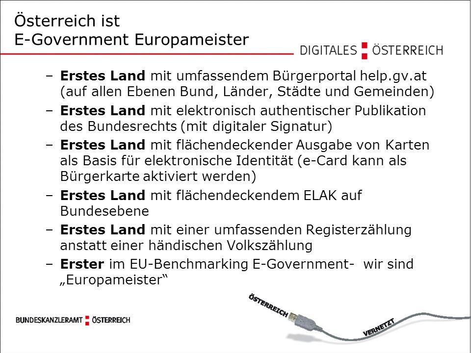 """Österreich ist E-Government Europameister –Erstes Land mit umfassendem Bürgerportal help.gv.at (auf allen Ebenen Bund, Länder, Städte und Gemeinden) –Erstes Land mit elektronisch authentischer Publikation des Bundesrechts (mit digitaler Signatur) –Erstes Land mit flächendeckender Ausgabe von Karten als Basis für elektronische Identität (e-Card kann als Bürgerkarte aktiviert werden) –Erstes Land mit flächendeckendem ELAK auf Bundesebene –Erstes Land mit einer umfassenden Registerzählung anstatt einer händischen Volkszählung –Erster im EU-Benchmarking E-Government- wir sind """"Europameister"""