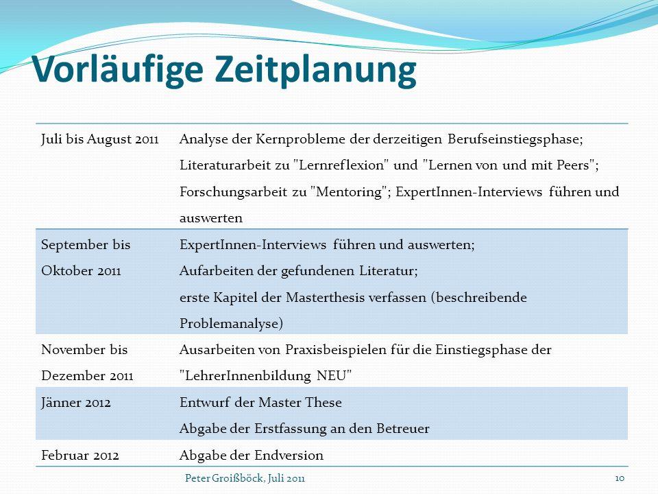 Vorläufige Zeitplanung Juli bis August 2011 Analyse der Kernprobleme der derzeitigen Berufseinstiegsphase; Literaturarbeit zu
