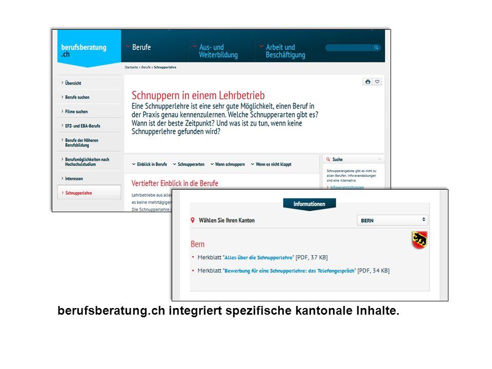 berufsberatung.ch integriert spezifische kantonale Inhalte.