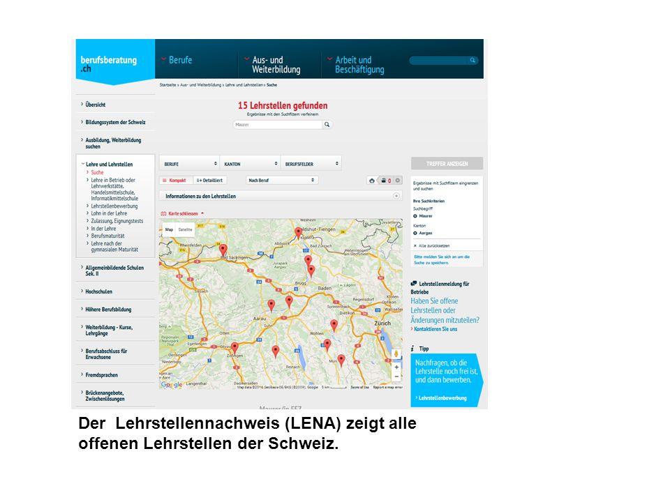 Der Lehrstellennachweis (LENA) zeigt alle offenen Lehrstellen der Schweiz.