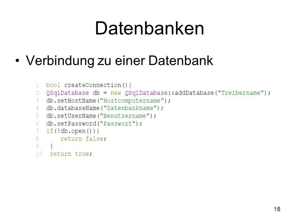 16 Datenbanken Verbindung zu einer Datenbank