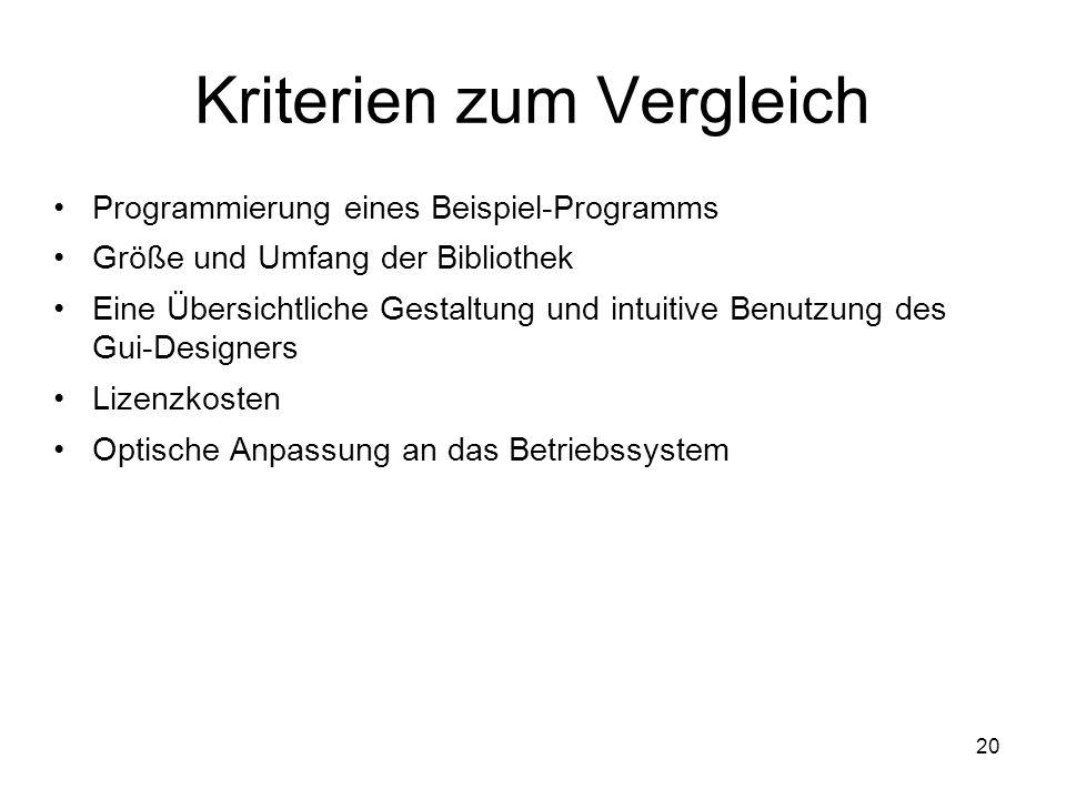 20 Kriterien zum Vergleich Programmierung eines Beispiel-Programms Größe und Umfang der Bibliothek Eine Übersichtliche Gestaltung und intuitive Benutzung des Gui-Designers Lizenzkosten Optische Anpassung an das Betriebssystem