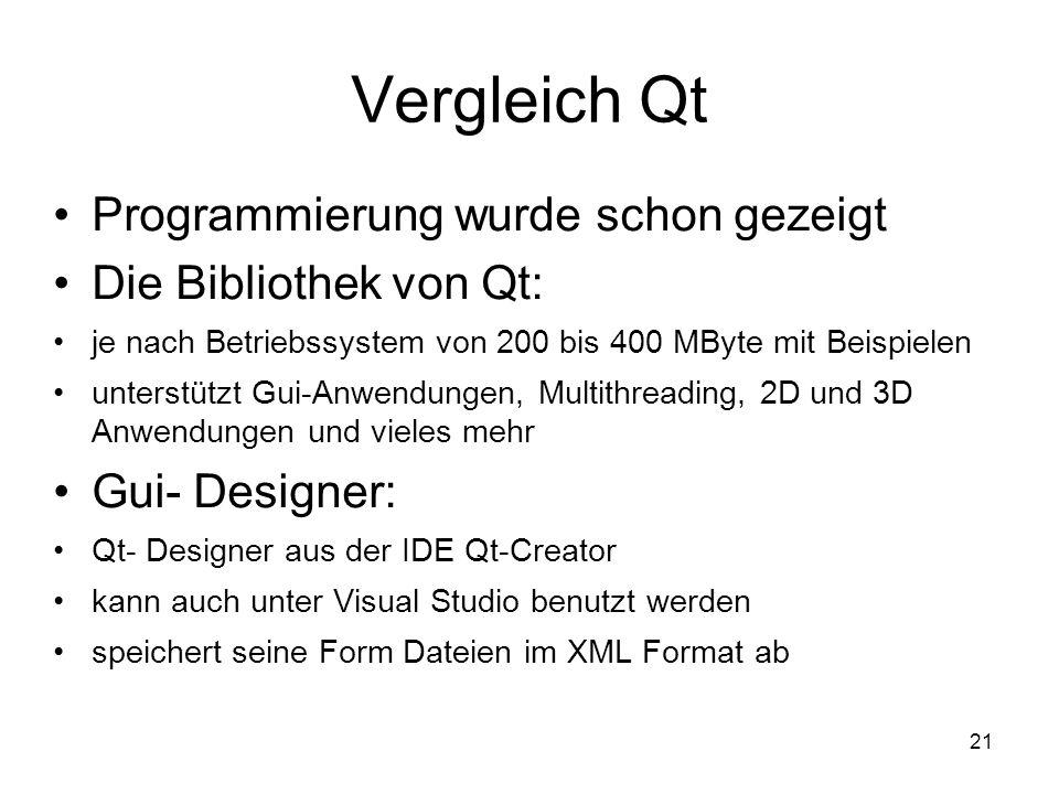 21 Vergleich Qt Programmierung wurde schon gezeigt Die Bibliothek von Qt: je nach Betriebssystem von 200 bis 400 MByte mit Beispielen unterstützt Gui-Anwendungen, Multithreading, 2D und 3D Anwendungen und vieles mehr Gui- Designer: Qt- Designer aus der IDE Qt-Creator kann auch unter Visual Studio benutzt werden speichert seine Form Dateien im XML Format ab