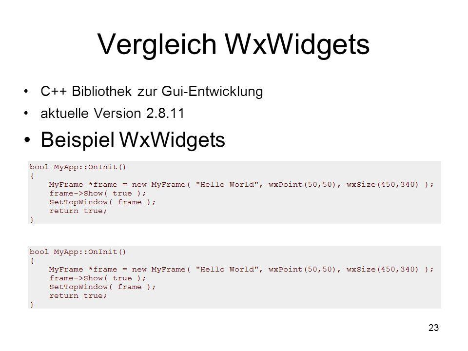 23 Vergleich WxWidgets C++ Bibliothek zur Gui-Entwicklung aktuelle Version 2.8.11 Beispiel WxWidgets