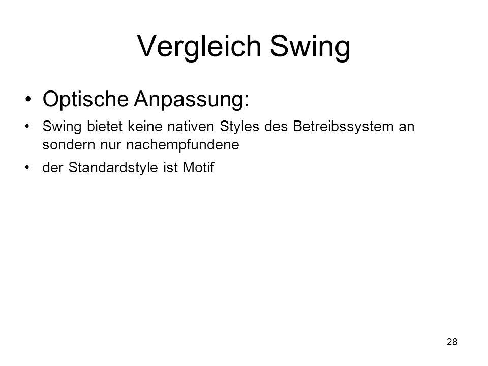 28 Vergleich Swing Optische Anpassung: Swing bietet keine nativen Styles des Betreibssystem an sondern nur nachempfundene der Standardstyle ist Motif