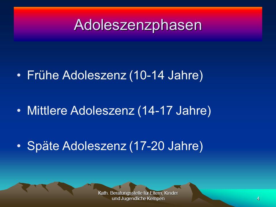 Frühe Adoleszenz (10-14 Jahre) Mittlere Adoleszenz (14-17 Jahre) Späte Adoleszenz (17-20 Jahre) Adoleszenzphasen 4 Kath.