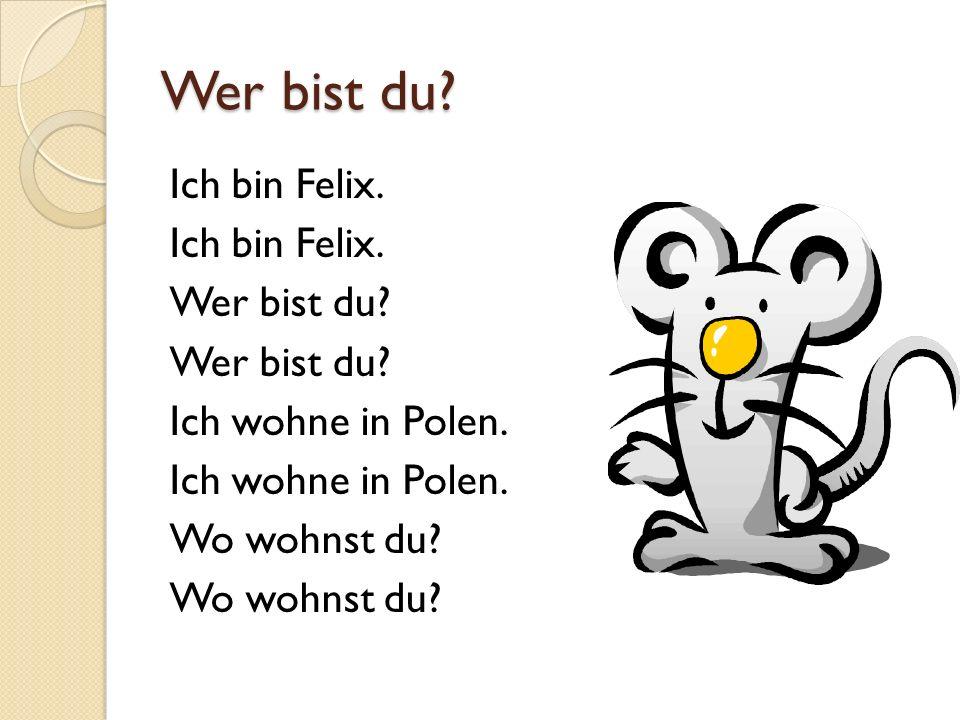 Wer bist du? Ich bin Felix. Wer bist du? Ich wohne in Polen. Wo wohnst du?