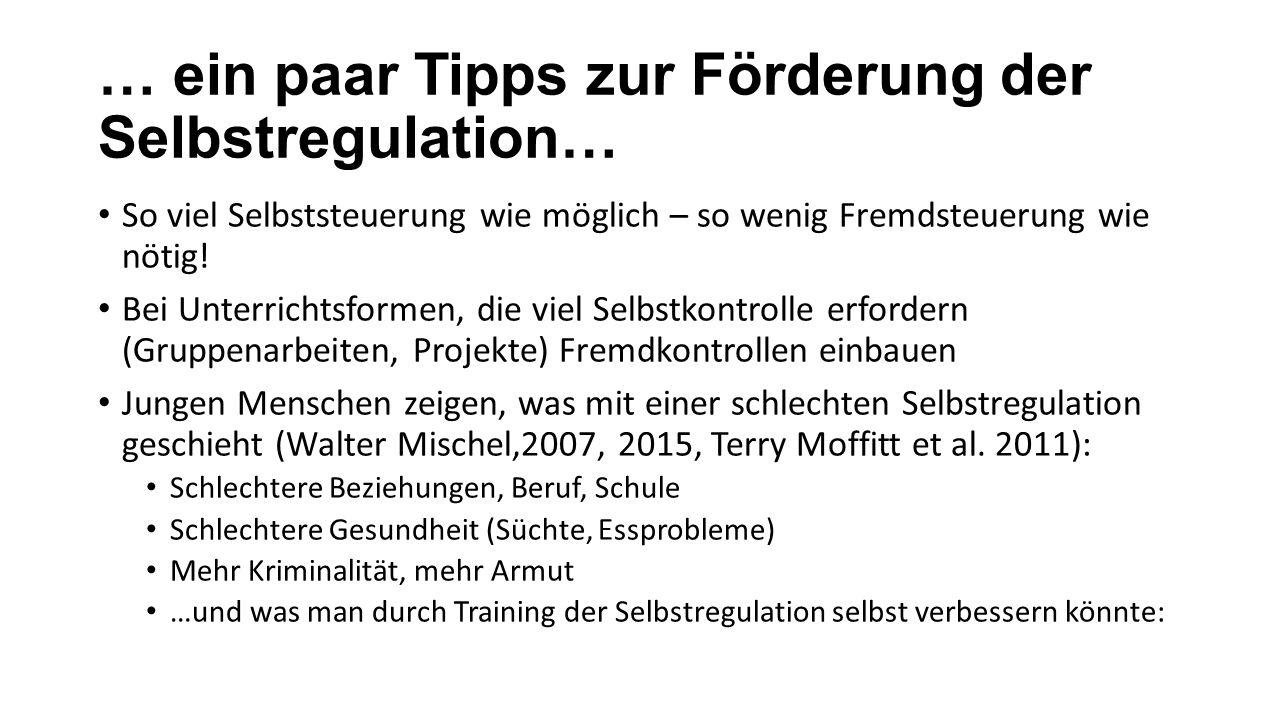 … ein paar Tipps zur Förderung der Selbstregulation… So viel Selbststeuerung wie möglich – so wenig Fremdsteuerung wie nötig.
