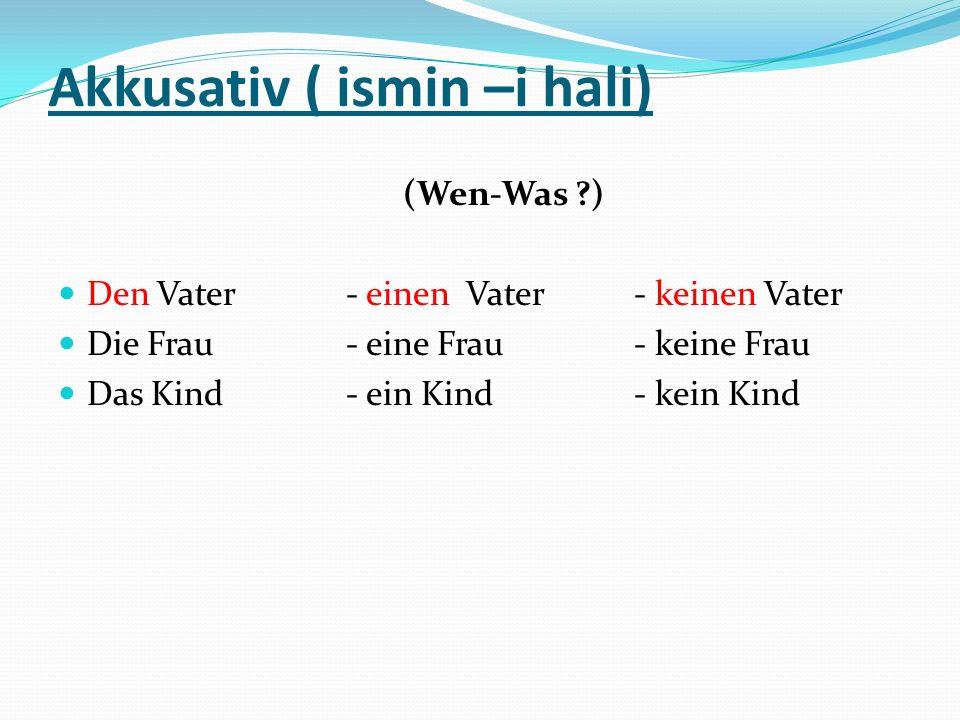 Dativ ( ismin-e hali) ( Wo-Wem?) Dem Vater- einem Vater- keinem Vater Der Frau- einer Frau- keiner Frau Dem Kind- einem Kind- keinem Kind