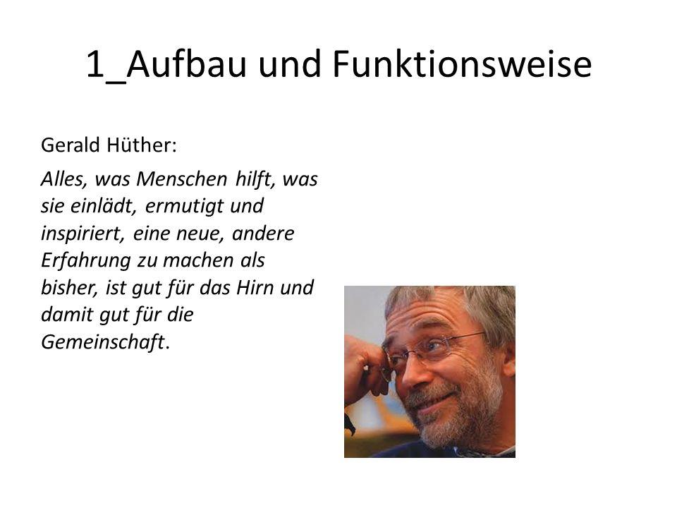 1_Aufbau und Funktionsweise Gerald Hüther: Alles, was Menschen hilft, was sie einlädt, ermutigt und inspiriert, eine neue, andere Erfahrung zu machen