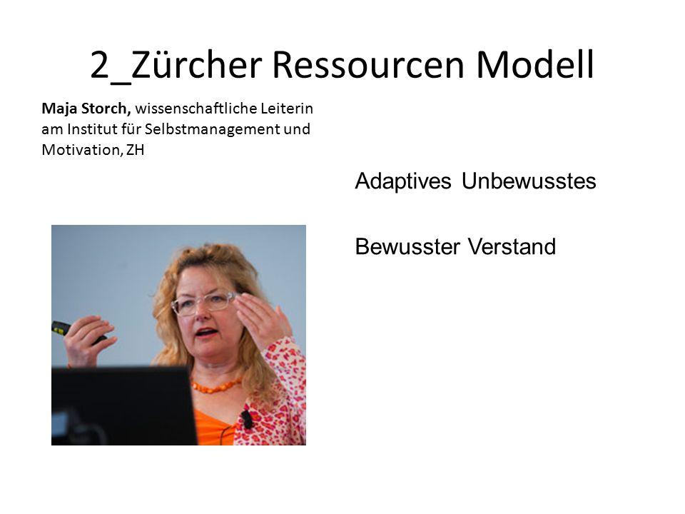 2_Zürcher Ressourcen Modell Maja Storch, wissenschaftliche Leiterin am Institut für Selbstmanagement und Motivation, ZH Adaptives Unbewusstes Bewusster Verstand