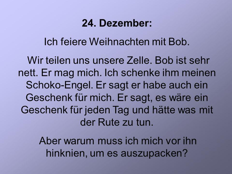 24. Dezember: Ich feiere Weihnachten mit Bob. Wir teilen uns unsere Zelle.