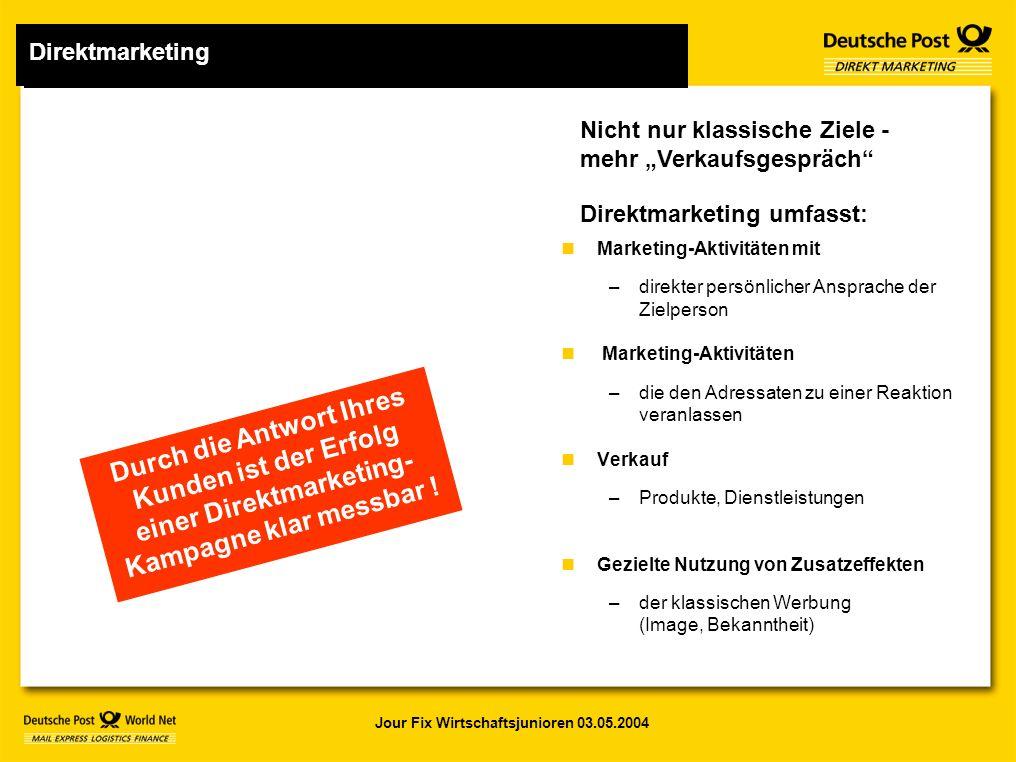 """Jour Fix Wirtschaftsjunioren 03.05.2004 Nicht nur klassische Ziele - mehr """"Verkaufsgespräch Direktmarketing umfasst: Durch die Antwort Ihres Kunden ist der Erfolg einer Direktmarketing- Kampagne klar messbar ."""