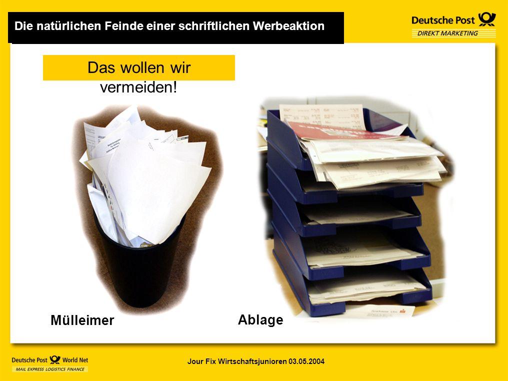 Jour Fix Wirtschaftsjunioren 03.05.2004 Mülleimer Ablage Das wollen wir vermeiden.