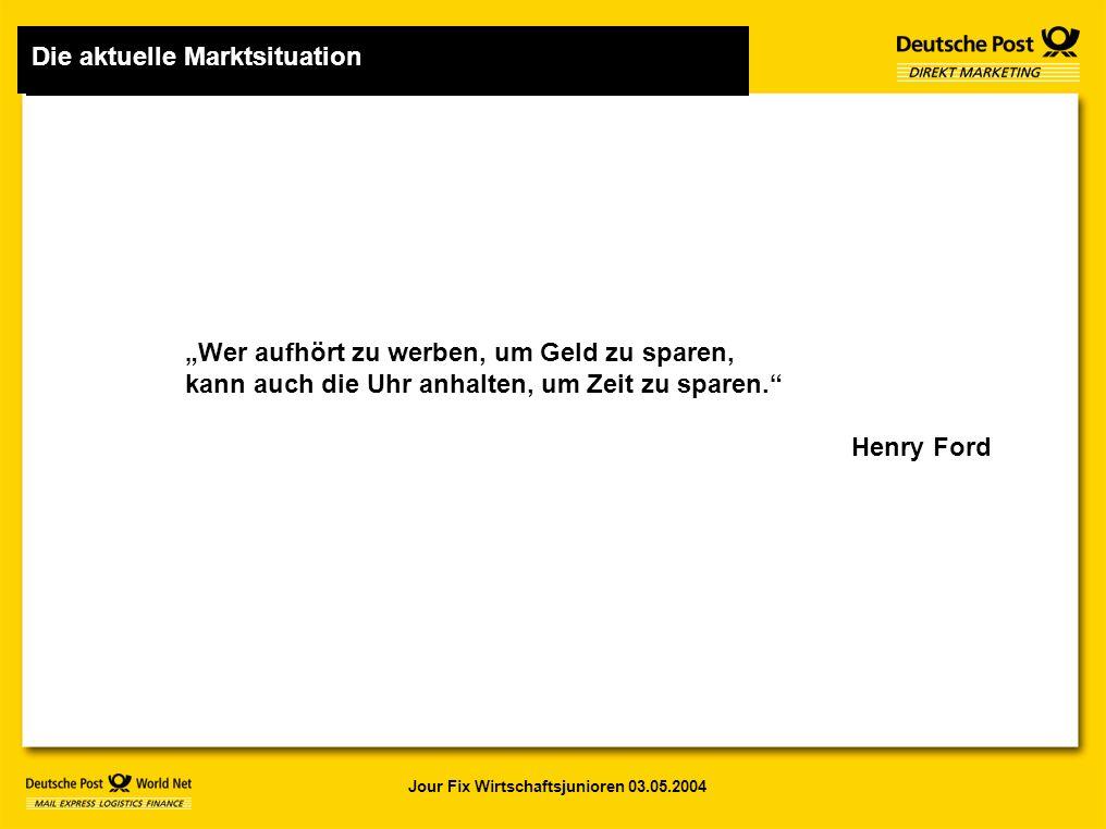 """Jour Fix Wirtschaftsjunioren 03.05.2004 1 Die aktuelle Marktsituation """"Wer aufhört zu werben, um Geld zu sparen, kann auch die Uhr anhalten, um Zeit zu sparen. Henry Ford Die aktuelle Marktsituation"""