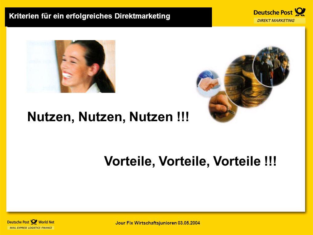 Jour Fix Wirtschaftsjunioren 03.05.2004 Nutzen, Nutzen, Nutzen !!.