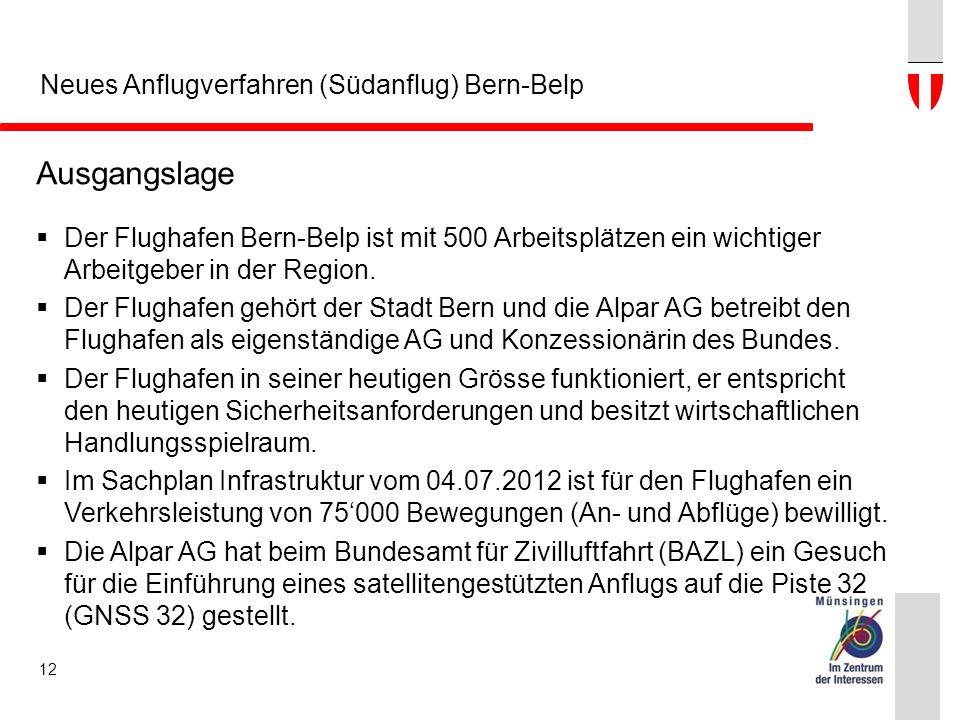 Neues Anflugverfahren (Südanflug) Bern-Belp Ausgangslage  Der Flughafen Bern-Belp ist mit 500 Arbeitsplätzen ein wichtiger Arbeitgeber in der Region.