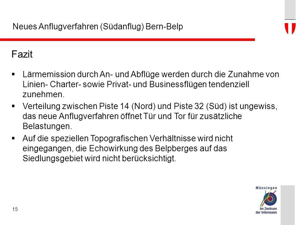 Neues Anflugverfahren (Südanflug) Bern-Belp Fazit  Lärmemission durch An- und Abflüge werden durch die Zunahme von Linien- Charter- sowie Privat- und Businessflügen tendenziell zunehmen.