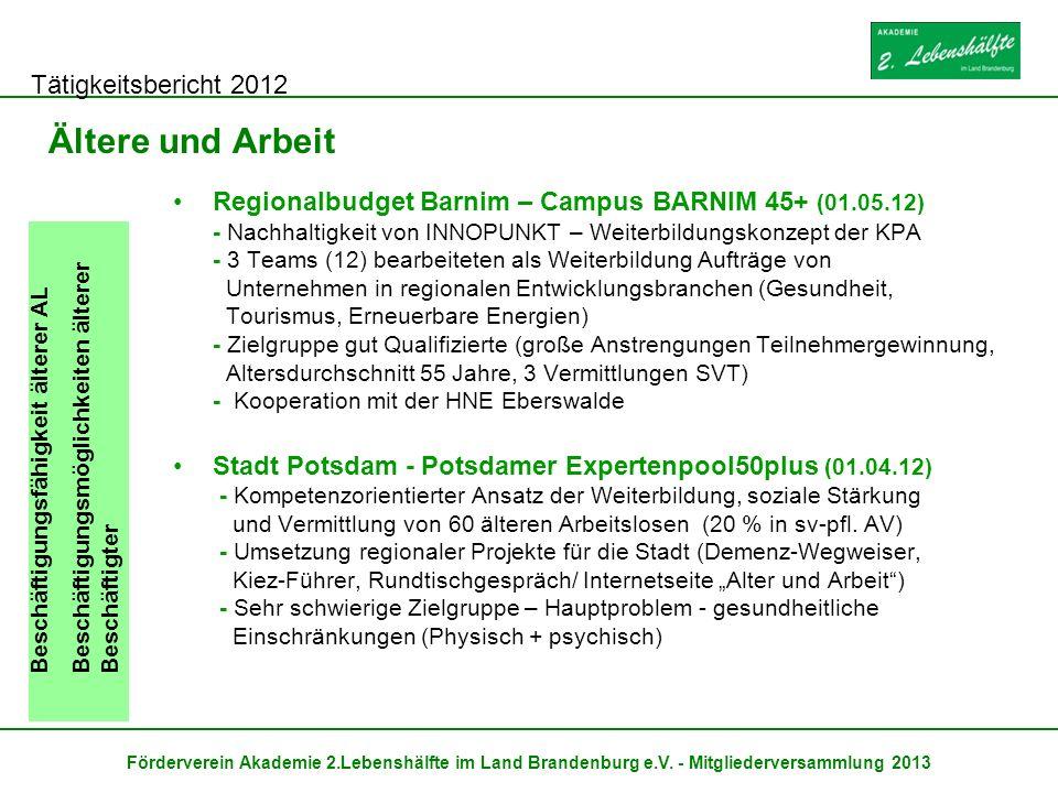 Tätigkeitsbericht 2012 Förderverein Akademie 2.Lebenshälfte im Land Brandenburg e.V. - Mitgliederversammlung 2013 Ältere und Arbeit Beschäftigungsfähi