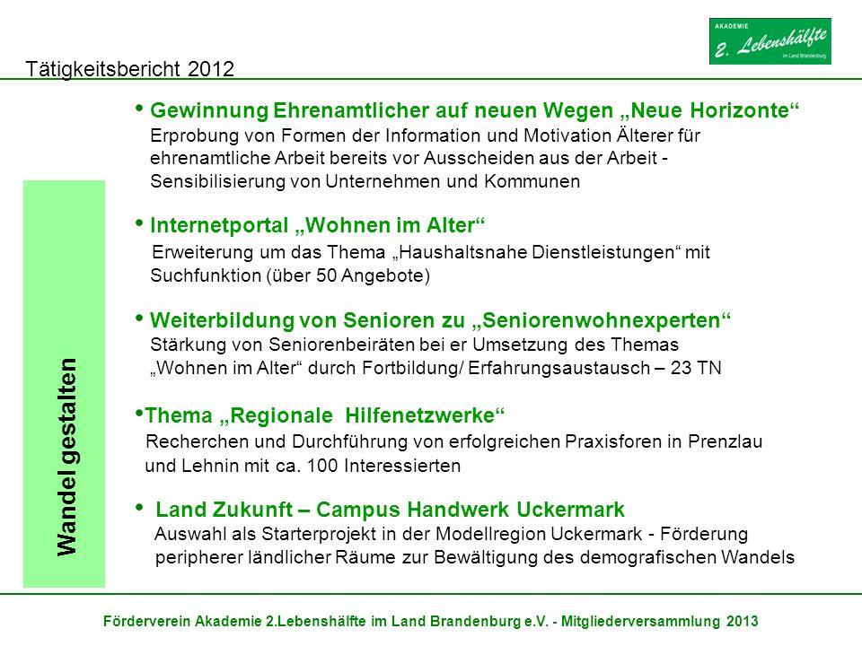 Tätigkeitsbericht 2012 Förderverein Akademie 2.Lebenshälfte im Land Brandenburg e.V. - Mitgliederversammlung 2013 Wandel gestalten Gewinnung Ehrenamtl