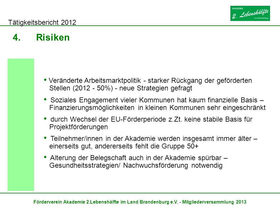 Tätigkeitsbericht 2012 Förderverein Akademie 2.Lebenshälfte im Land Brandenburg e.V. - Mitgliederversammlung 2013 4.Risiken Veränderte Arbeitsmarktpol