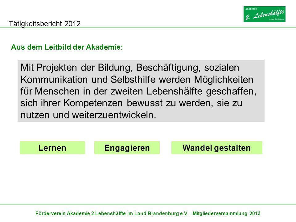 Tätigkeitsbericht 2012 Förderverein Akademie 2.Lebenshälfte im Land Brandenburg e.V. - Mitgliederversammlung 2013 Aus dem Leitbild der Akademie: Mit P