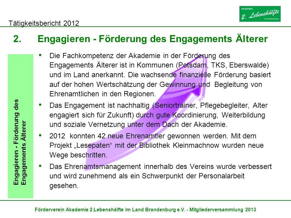 Tätigkeitsbericht 2012 Förderverein Akademie 2.Lebenshälfte im Land Brandenburg e.V. - Mitgliederversammlung 2013 2.Engagieren - Förderung des Engagem