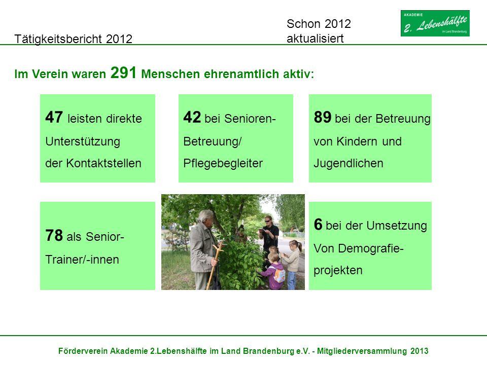 Tätigkeitsbericht 2012 Förderverein Akademie 2.Lebenshälfte im Land Brandenburg e.V. - Mitgliederversammlung 2013 Im Verein waren 291 Menschen ehrenam