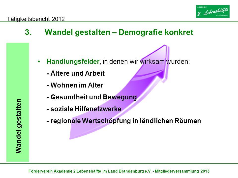 Tätigkeitsbericht 2012 Förderverein Akademie 2.Lebenshälfte im Land Brandenburg e.V. - Mitgliederversammlung 2013 3.Wandel gestalten – Demografie konk