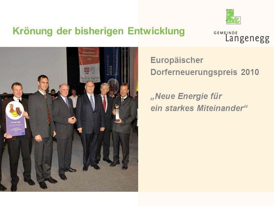 """Krönung der bisherigen Entwicklung Europäischer Dorferneuerungspreis 2010 """"Neue Energie für ein starkes Miteinander"""