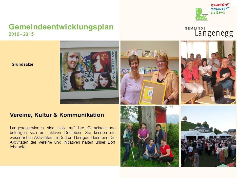 Gemeindeentwicklungsplan 2010 - 2015 Vereine, Kultur & Kommunikation Langenegger/innen sind stolz auf ihre Gemeinde und beteiligen sich am aktiven Dorfleben.