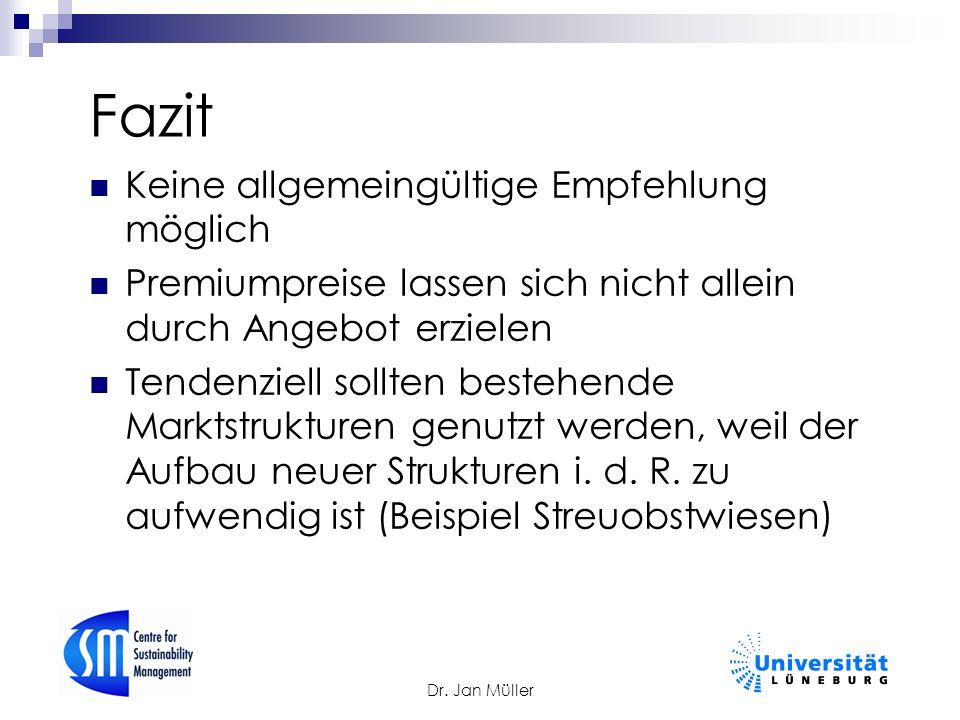 Dr. Jan Müller Fazit Keine allgemeingültige Empfehlung möglich Premiumpreise lassen sich nicht allein durch Angebot erzielen Tendenziell sollten beste