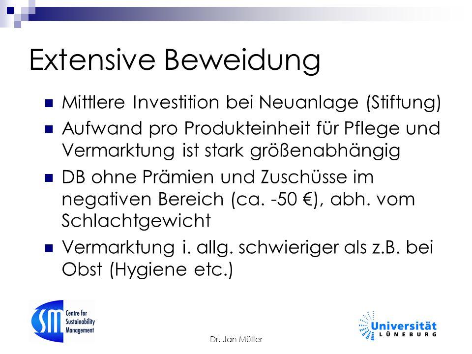 Dr. Jan Müller Extensive Beweidung Mittlere Investition bei Neuanlage (Stiftung) Aufwand pro Produkteinheit für Pflege und Vermarktung ist stark größe