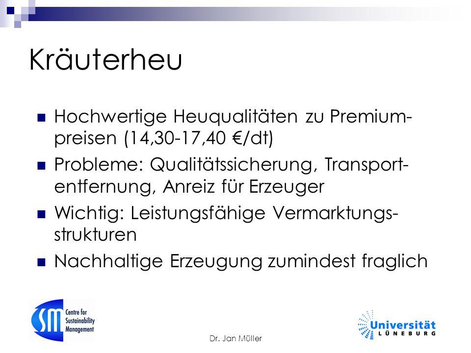 Dr. Jan Müller Kräuterheu Hochwertige Heuqualitäten zu Premium- preisen (14,30-17,40 €/dt) Probleme: Qualitätssicherung, Transport- entfernung, Anreiz