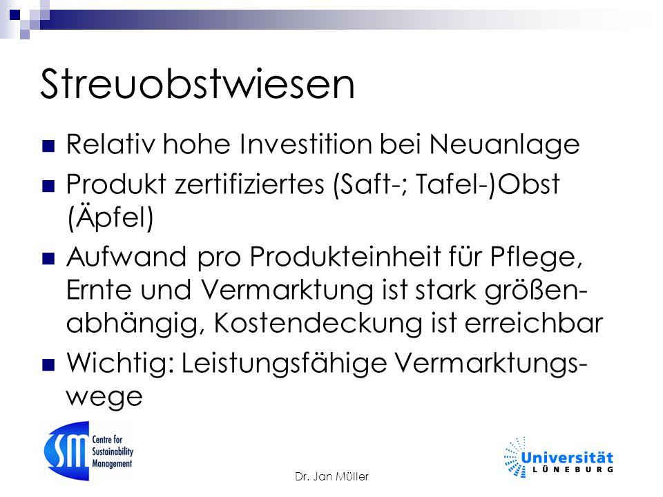 Dr. Jan Müller Streuobstwiesen Relativ hohe Investition bei Neuanlage Produkt zertifiziertes (Saft-; Tafel-)Obst (Äpfel) Aufwand pro Produkteinheit fü