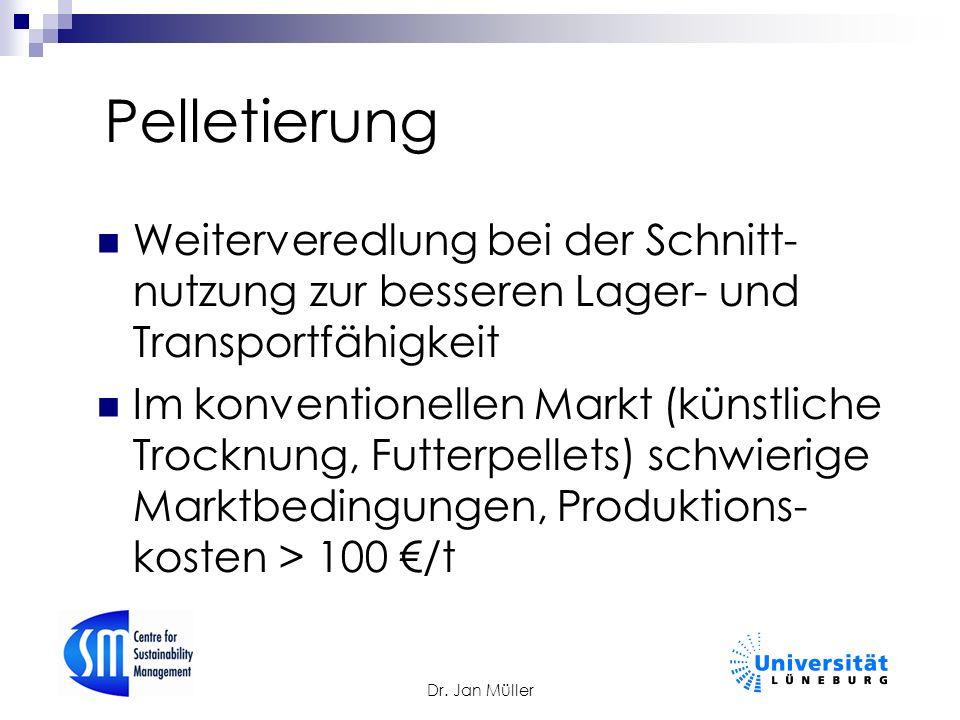 Dr. Jan Müller Pelletierung Weiterveredlung bei der Schnitt- nutzung zur besseren Lager- und Transportfähigkeit Im konventionellen Markt (künstliche T