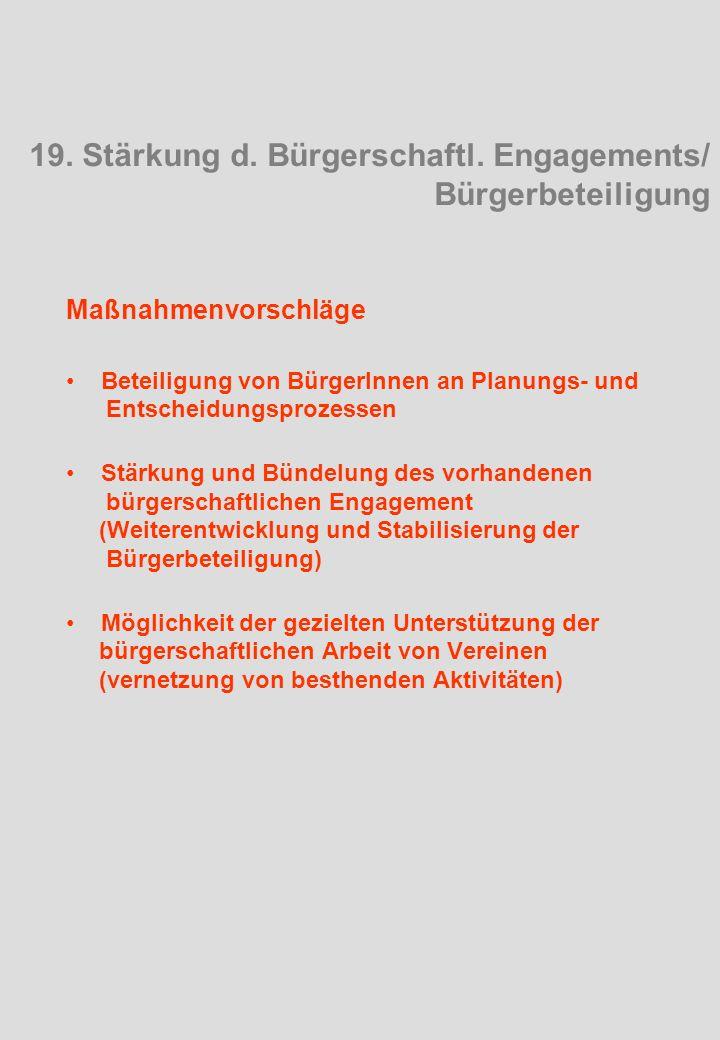 Maßnahmenvorschläge Beteiligung von BürgerInnen an Planungs- und Entscheidungsprozessen Stärkung und Bündelung des vorhandenen bürgerschaftlichen Engagement (Weiterentwicklung und Stabilisierung der Bürgerbeteiligung) Möglichkeit der gezielten Unterstützung der bürgerschaftlichen Arbeit von Vereinen (vernetzung von besthenden Aktivitäten) 19.