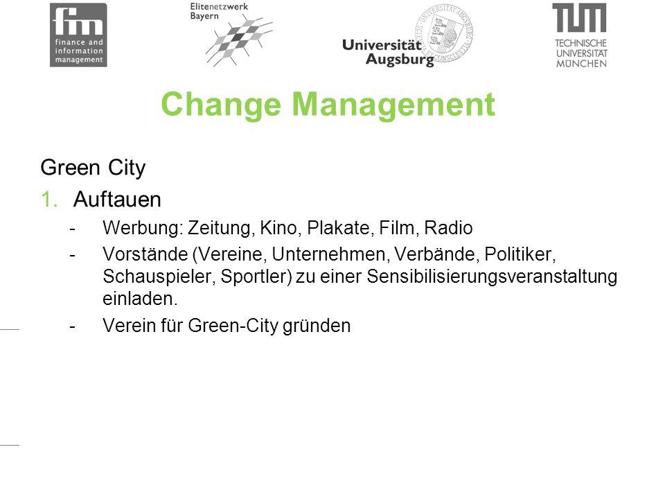 Change Management Green City 1.Auftauen -Werbung: Zeitung, Kino, Plakate, Film, Radio -Vorstände (Vereine, Unternehmen, Verbände, Politiker, Schauspieler, Sportler) zu einer Sensibilisierungsveranstaltung einladen.