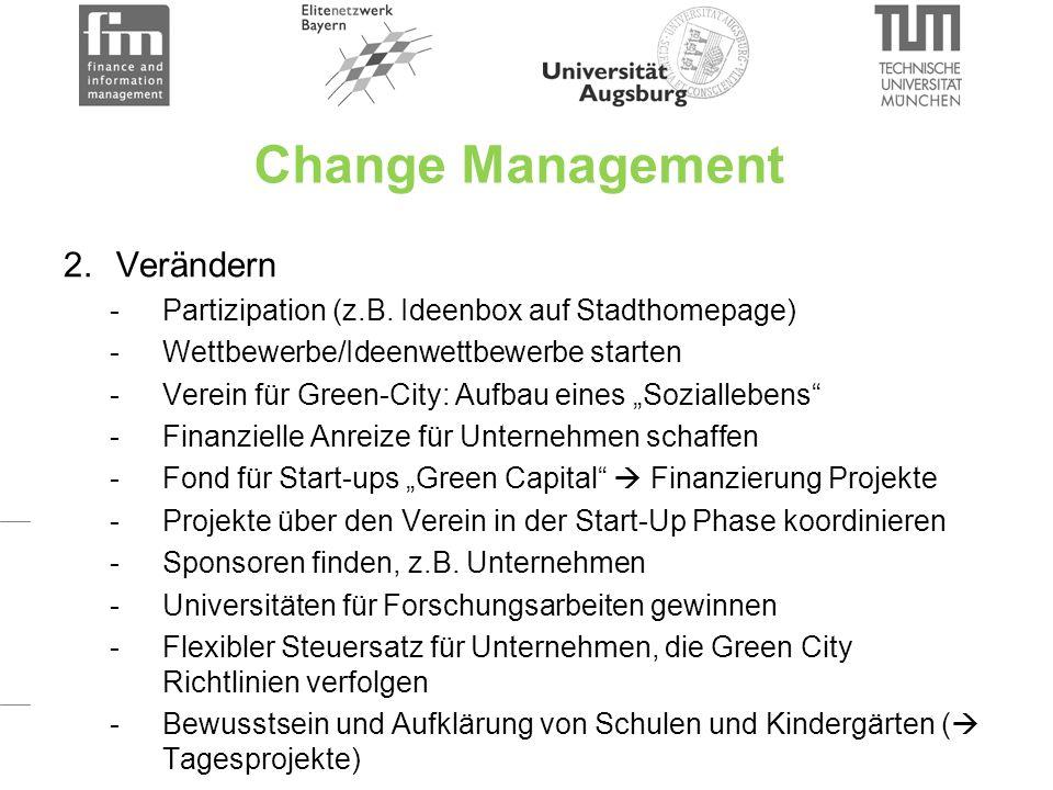 Change Management 2. Verändern -Partizipation (z.B.
