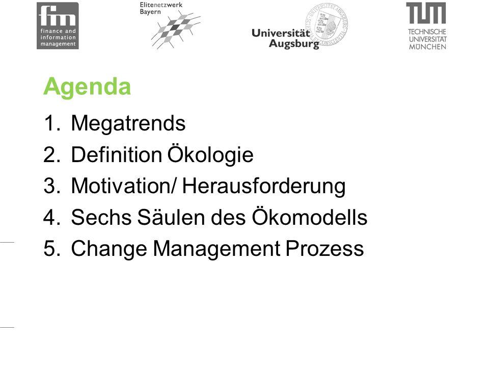 Agenda 1.Megatrends 2.Definition Ökologie 3.Motivation/ Herausforderung 4.Sechs Säulen des Ökomodells 5.Change Management Prozess