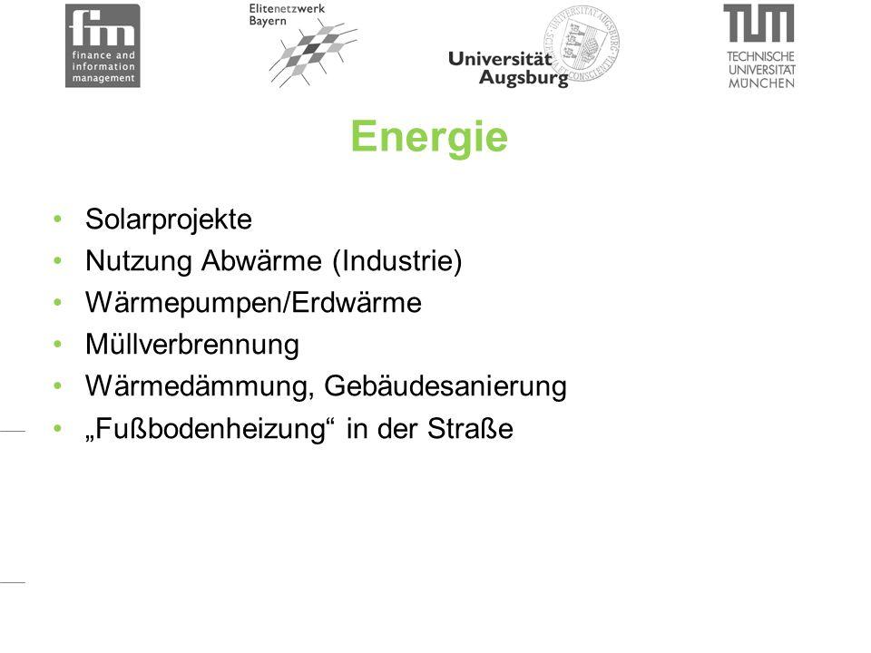 """Energie Solarprojekte Nutzung Abwärme (Industrie) Wärmepumpen/Erdwärme Müllverbrennung Wärmedämmung, Gebäudesanierung """"Fußbodenheizung in der Straße"""