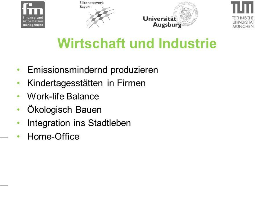 Wirtschaft und Industrie Emissionsmindernd produzieren Kindertagesstätten in Firmen Work-life Balance Ökologisch Bauen Integration ins Stadtleben Home-Office