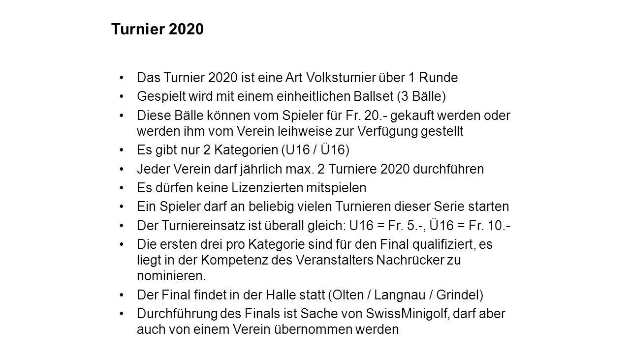 Das Turnier 2020 ist eine Art Volksturnier über 1 Runde Gespielt wird mit einem einheitlichen Ballset (3 Bälle) Diese Bälle können vom Spieler für Fr.